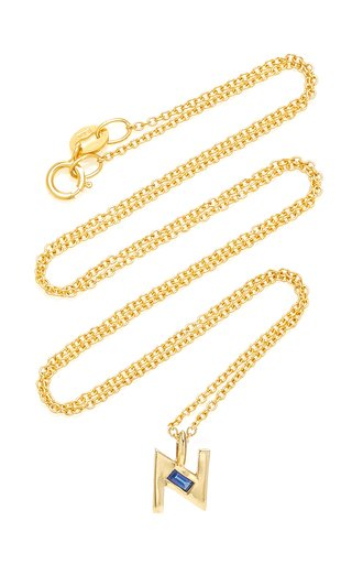 18K Yellow Gold Petite Sapphire Deco Initial Necklace