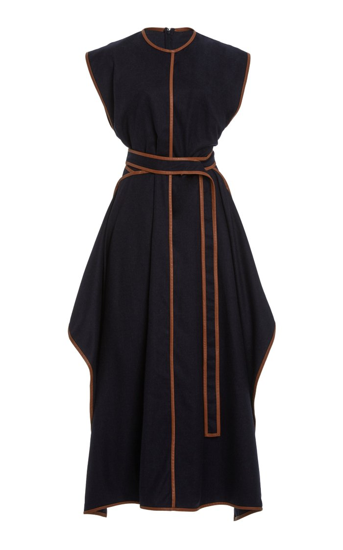 Eloise Faux Leather-Trimmed Wool Flannel Maxi Dress