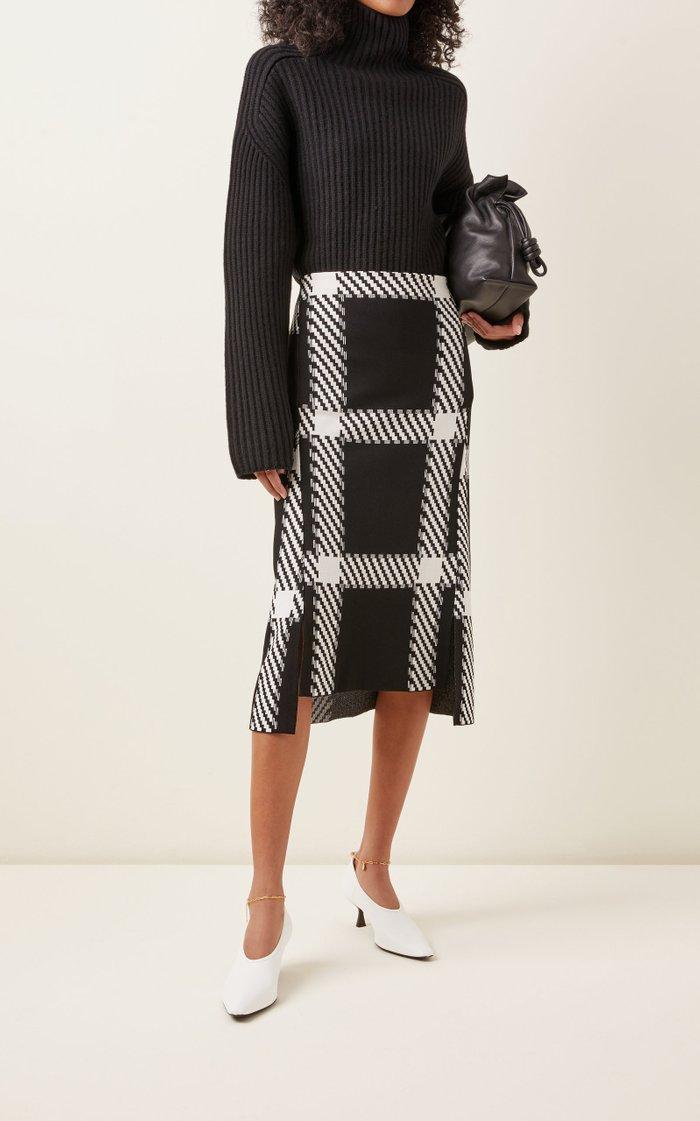 Clean Lumberjack Knit Midi Skirt