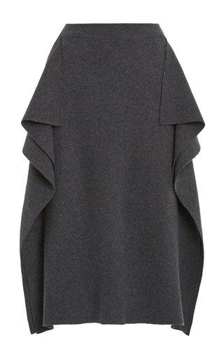 Draped Wool Midi Skirt