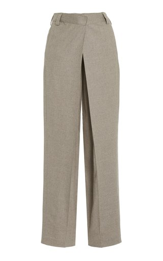 Wool Crossover Straight-Leg Trousers