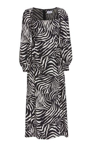 Mara Zebra-Print Crepe Midi Dress