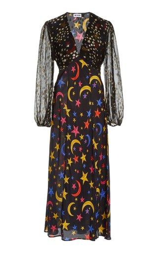 Melanie Star-Print Silk Midi Dress