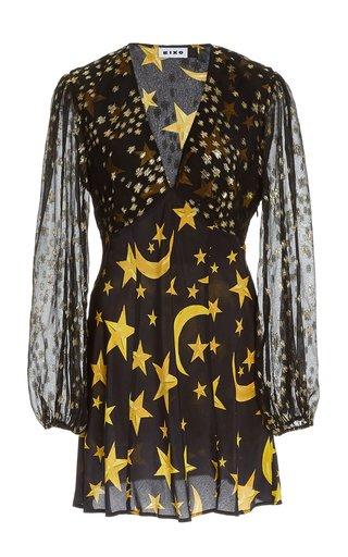 Lia Star-Print Silk Mini Dress