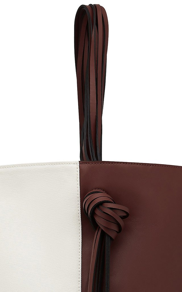 Saturn Two-Tone Leather Top-Handle Tote