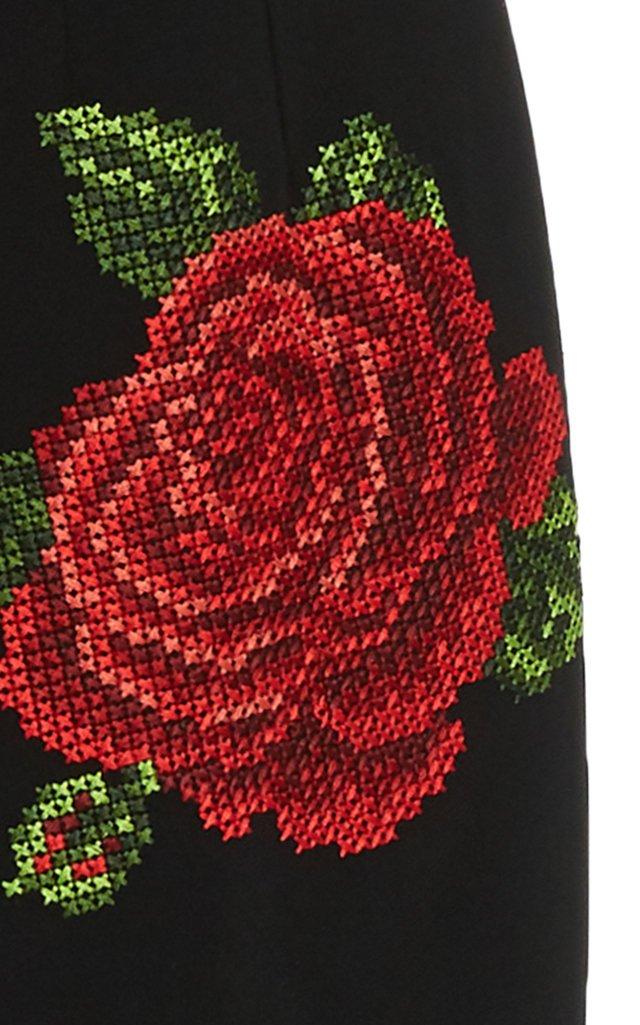 High-Rise Rose-Embroidered Crepe Midi Skirt