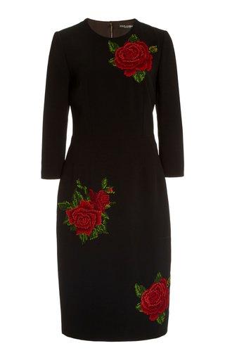 Rose-Embroidered Crepe Midi Sheath Dress