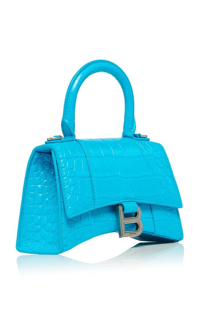 Hourglass Mini Croc-Effect Leather Bag