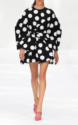 Specialorder-Polka Dot Bow-Embellished Cotton Mini Dress-YB
