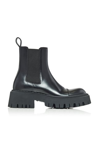 Tractor Leather Platform Ankle Boots