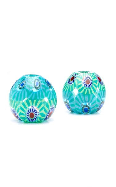 Set-Of-Two Murrine Glass Candle Holders