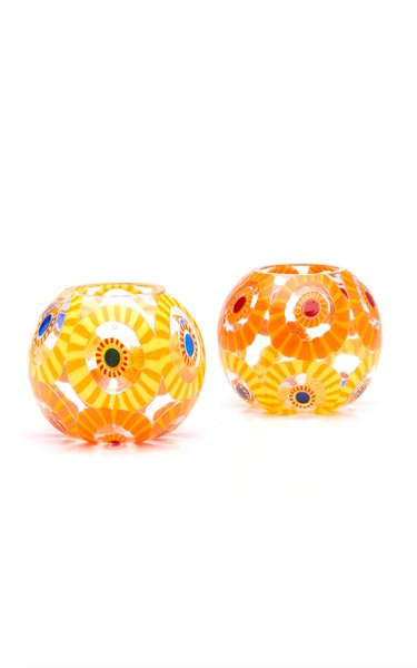 Set-Of-Two Murrine Glass Tea Light Holders