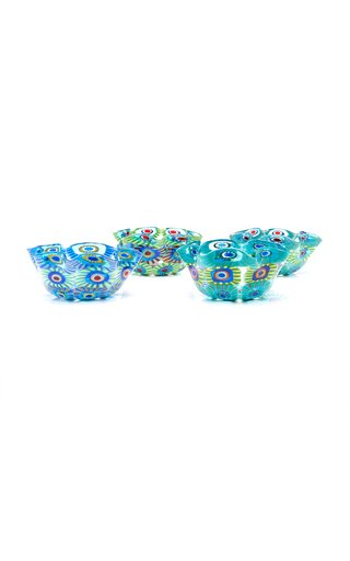 Set-Of-Four Wave Murrine Glass Snack Bowls