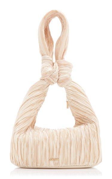Mina Knotted Pleated Satin Top Handle Bag