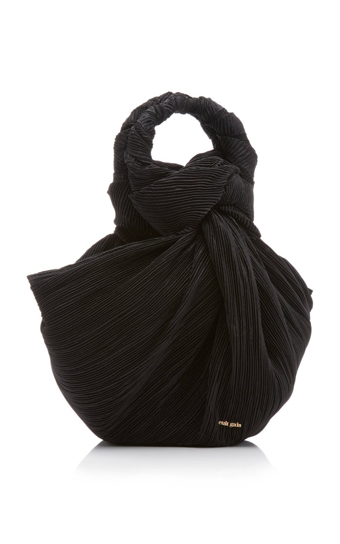 Tulay Knotted Pleated Velvet Top Handle Bag