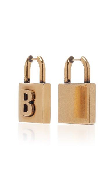 Lock S Antiqued Brass Earrings