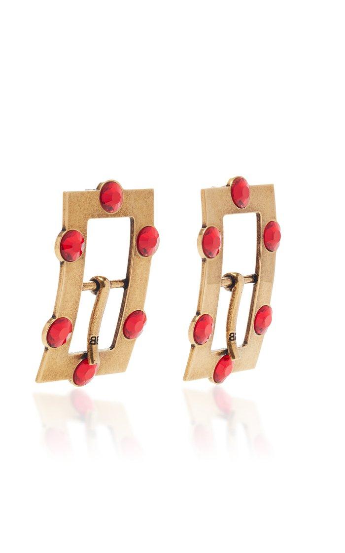 Buckle Crystal-Embellished Antiqued Brass Earrings