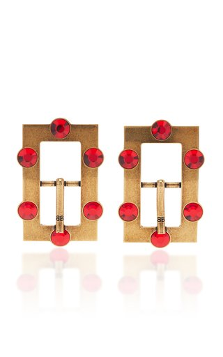 Buckle Crystal-Embellished Antiqued Brass Earrings