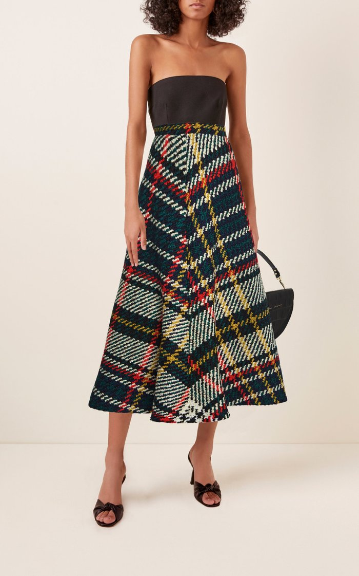 Plaid Wool-Cotton A-Line Midi Skirt