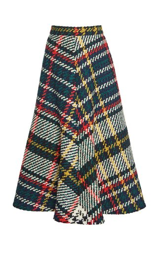 Plaid Wool-Cotton A-Line Midi Skirt