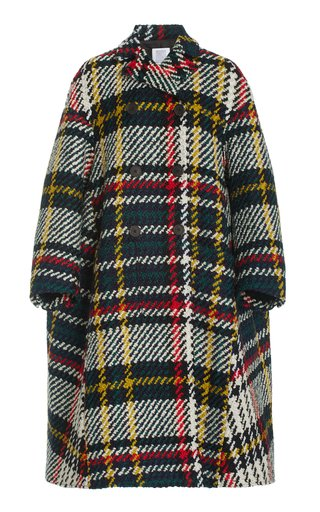 Plaid Wool-Blend Peacoat