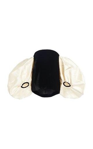 Satin Balloon-Sleeve Velvet Off-The-Shoulder Top