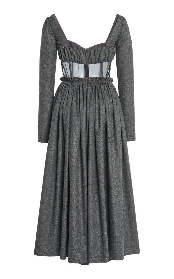 Organza-Detailed Wool-Cotton Midi Dress