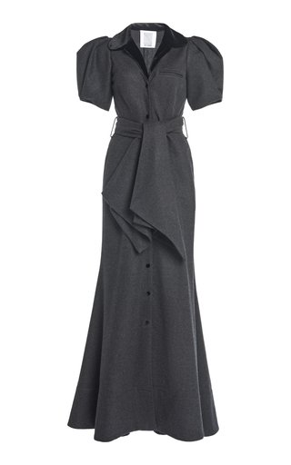 Puffed-Sleeve Wool-Cotton Maxi Dress