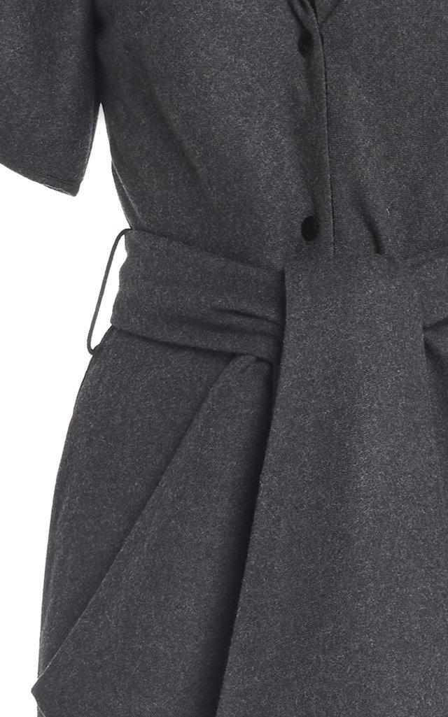 Puffed-Sleeve Wool-Cotton Maxi Dress