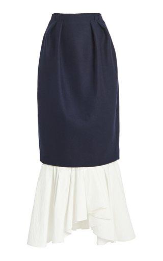 Poplin-Detailed Pleated Wool-Blend Maxi Skirt