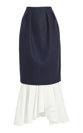 Poplin-Detailed Pleated Wool-Blend Maxi Skirt