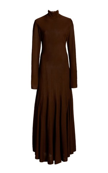 Mock-Neck Jersey Maxi Dress