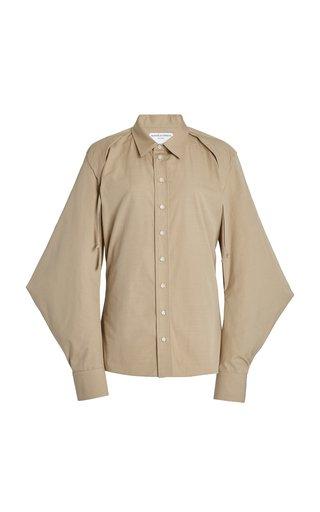 Cape-Sleeve Cotton-Blend Poplin Shirt