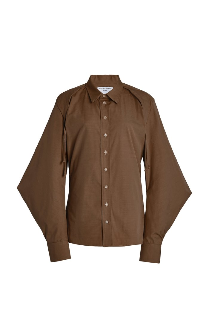 Cape-Sleeve Cotton-Blend Poplin Shirt