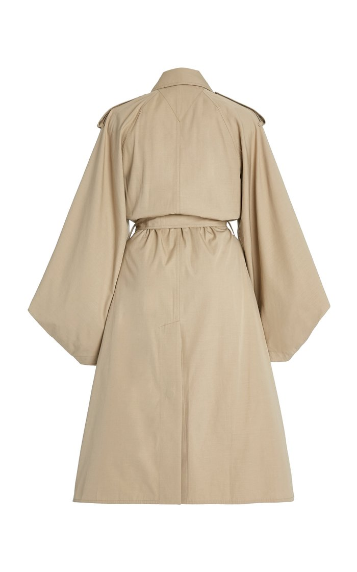 Draped-Sleeve Cotton-Blend Double-Breasted Trench Coat