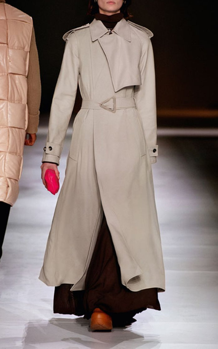 Long Belted Twill Trench Coat