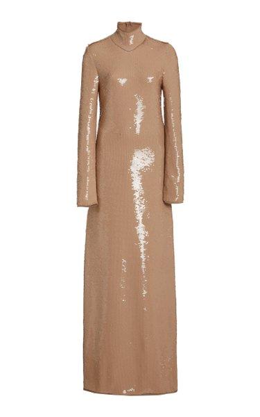 Sequined Maxi Turtleneck Dress