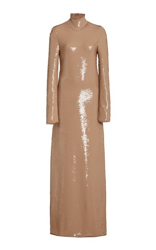 Sequined Maxi Turtleneck Dress