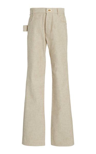 High-Rise Cotton Straight-Leg Pants