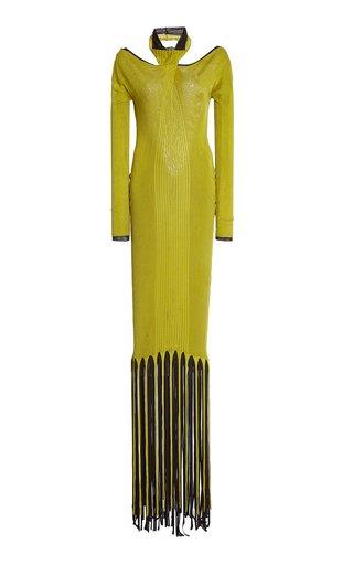 Fringe-Trimmed Ribbed-Knit Maxi Halter Dress
