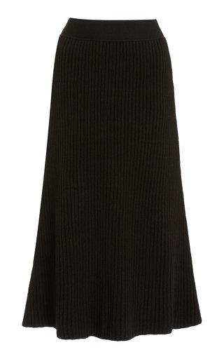 Ribbed-Knit Wool Midi Skirt