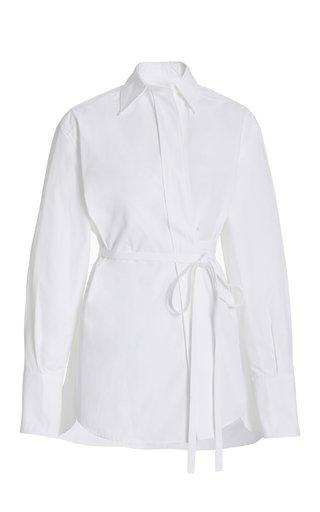 Belted Cotton Poplin Shirt
