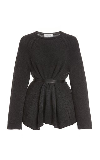 Belted Wool-Cashmere Knit Top