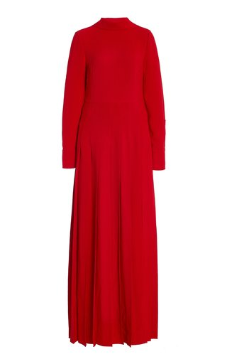 Pleated Silk Tie-Neck Gown