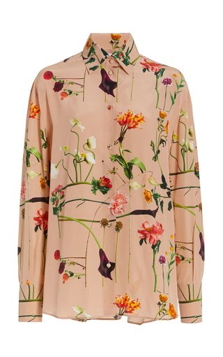 Printed Silk Button-Down Shirt