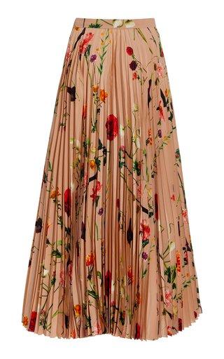 Pleated Floral Silk Maxi Skirt