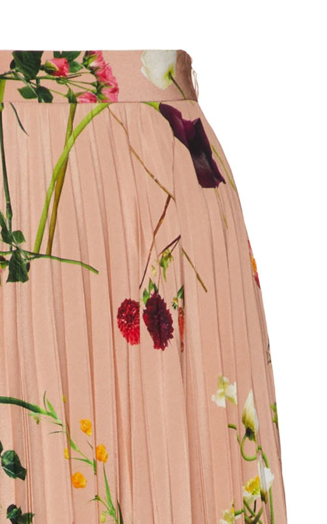 Pleated Floral Silk Maxi Skirt
