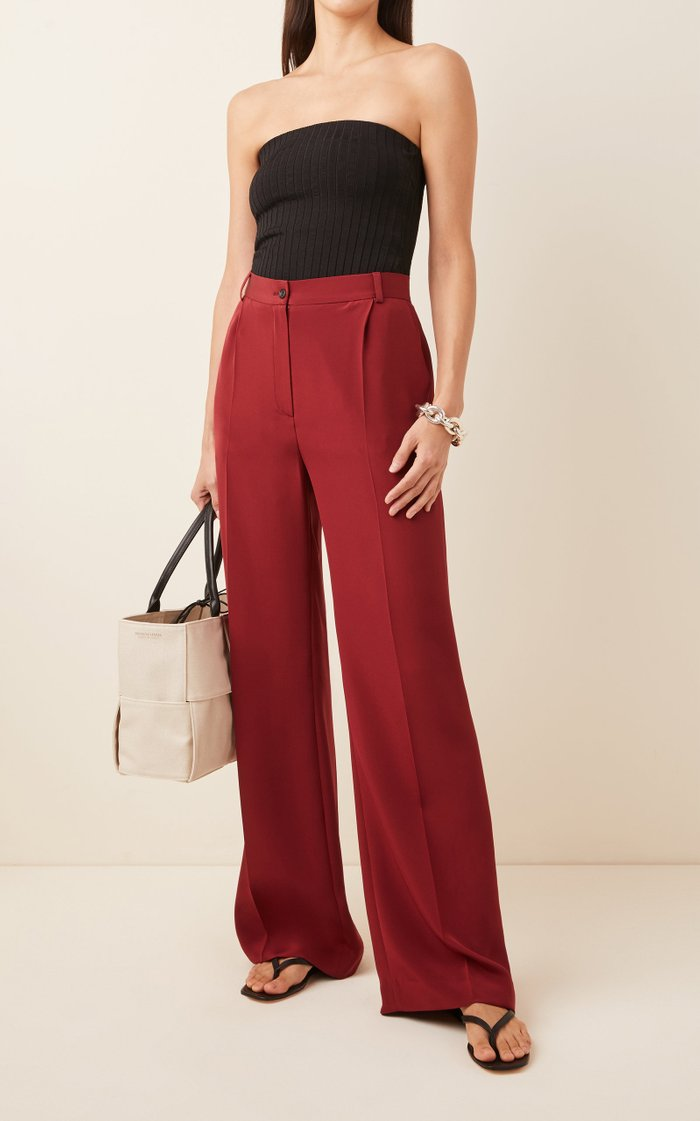 Phoebe Silk Crepe Wide-Leg Trousers