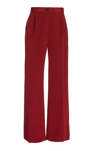 La Collection Phoebe Silk Crepe Wide-leg Trousers In Burgundy