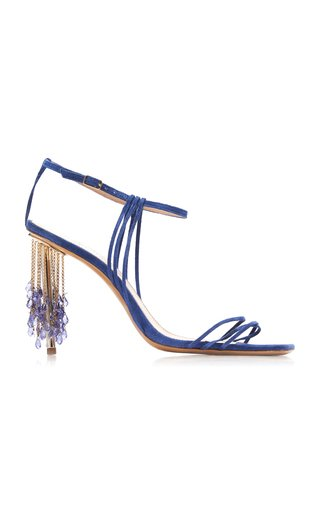 Specialorders-Raphia Embellished Strappy Suede Sandals-YB